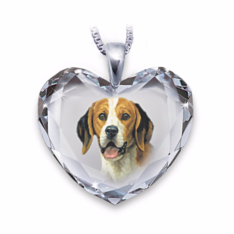 Beagle Heart-Shaped Crystal Necklace
