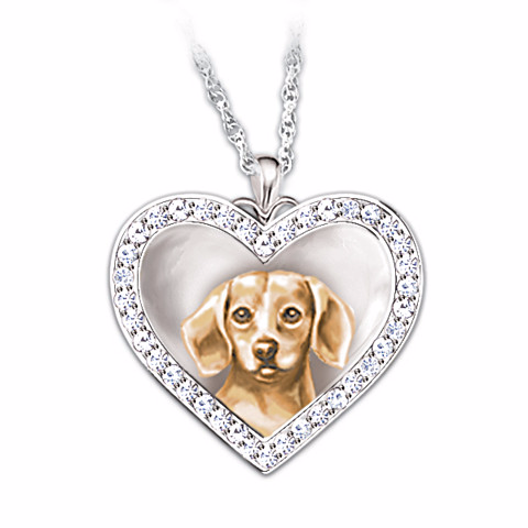 Beagle Devoted Friend Engraved Heart-Shaped Pendant Necklace