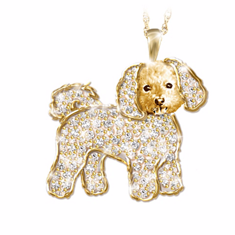 Bichon Frise Best In Show Crystal Pendant Necklace