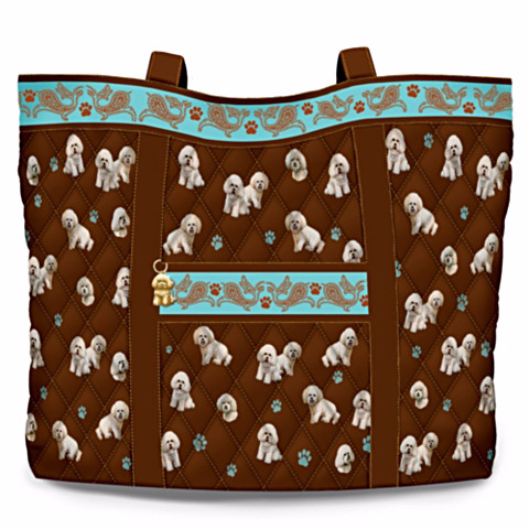 Bichon Frise Faithful Friend Quilted Tote Bag