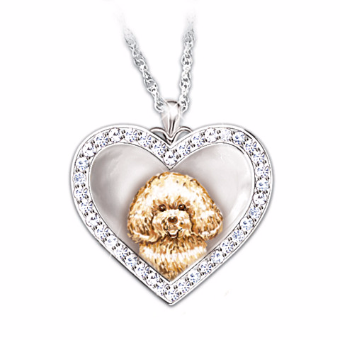 Bichon Frise Devoted Friend Engraved Heart-Shaped Pendant Necklace
