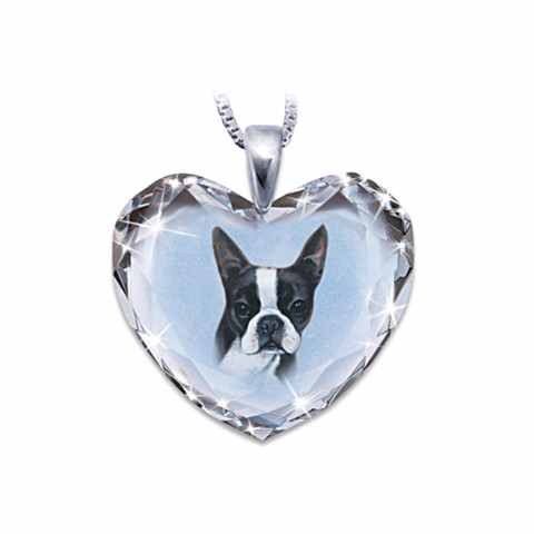 Boston Terrier Heart-Shaped Crystal Necklace