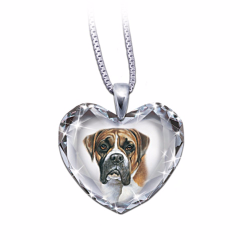 Boxer Heart-Shaped Crystal Necklace
