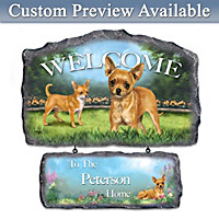 Chihuahua Personalized Welcome Sign by Linda Picken