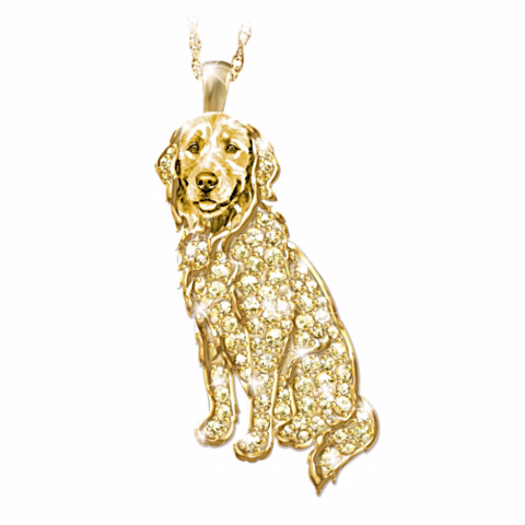 Golden Retriever Best In Show Crystal Pendant Necklace
