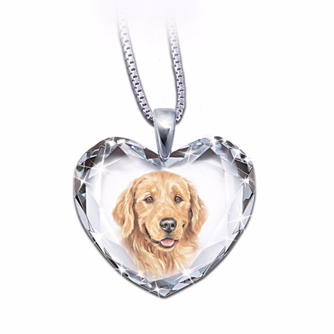 Golden Retriever Heart-Shaped Crystal Necklace