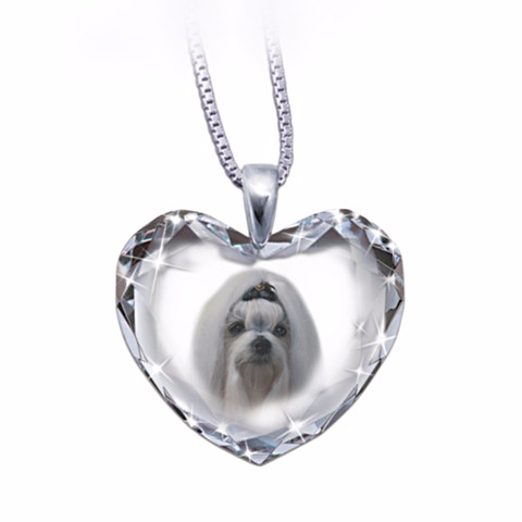 Maltese Heart-Shaped Crystal Necklace