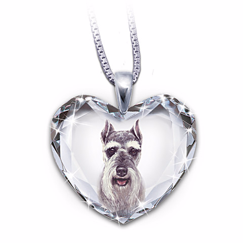Schnauzer Heart-Shaped Crystal Pendant Necklace