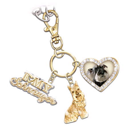 Schnauzer Lover's Keychain with Charms