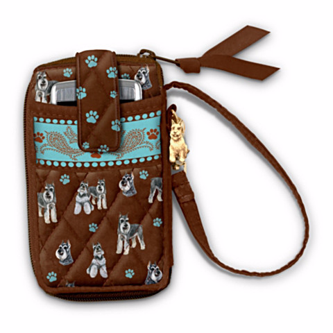 Schnauzer Loving Companion Cell Phone Holder Wristlet