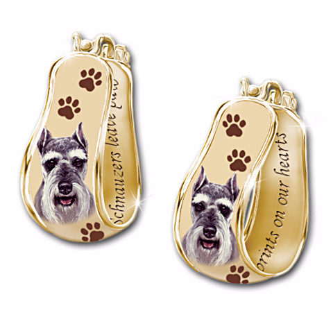 Schnauzer Loyal Companion Cuff Earrings