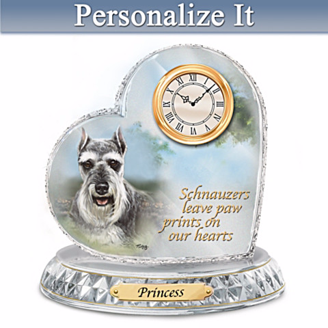 Schnauzer Personalized Clock by Linda Picken