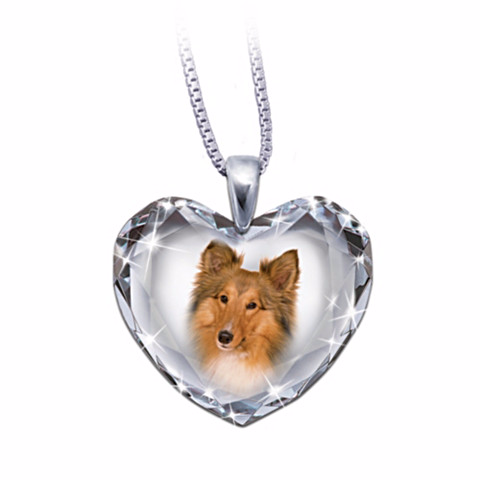 Choose Your Dog Breed Heart-Shaped Crystal Pendant Necklace