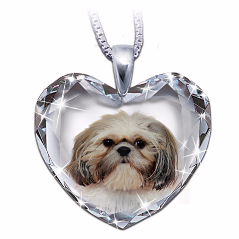 Shih Tzu Heart-Shaped Crystal Pendant Necklace