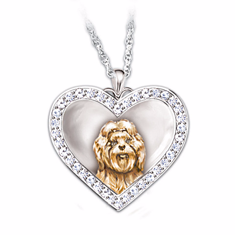 Shih Tzu Devoted Friend Engraved Heart-Shaped Pendant Necklace