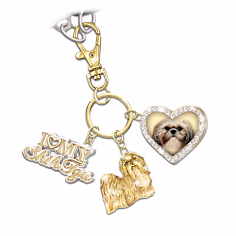 Shih Tzu Lover's Keychain with Charms