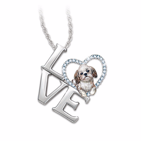 Shih Tzu Loving Companion Pendant Necklace