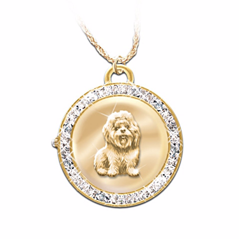Shih Tzu Watch Reversible Pendant Necklace