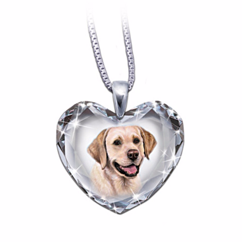 Yellow Lab Heart-Shaped Crystal Necklace