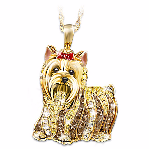 Yorkie Best In Show Crystal Pendant Necklace
