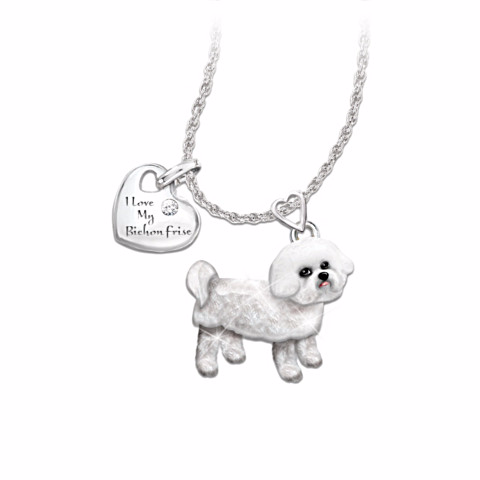 Bichon Frise Lover's Diamond Pendant Necklace