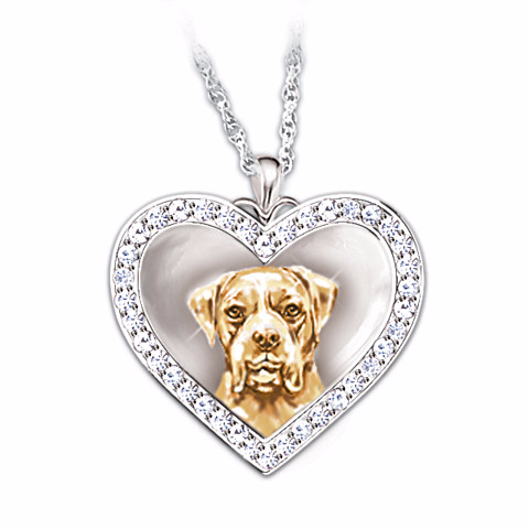 Boxer Devoted Friend Engraved Heart-Shaped Pendant Necklace