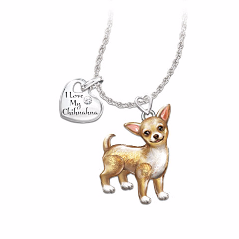 Chihuahua Lover's Diamond Pendant Necklace
