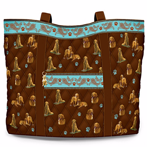Golden Retriever Faithful Friend Quilted Tote Bag