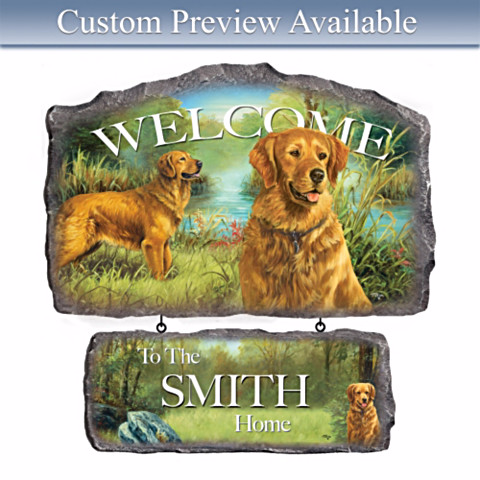Personalized Welcome Sign for Golden Retriever Lovers
