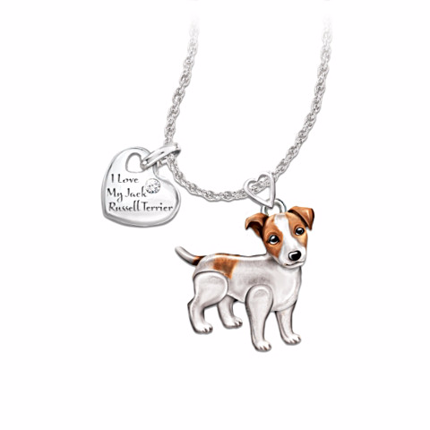 Jack Russell Terrier Lover's Diamond Pendant Necklace